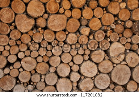 particular of lumber ready to be burned - stock photo