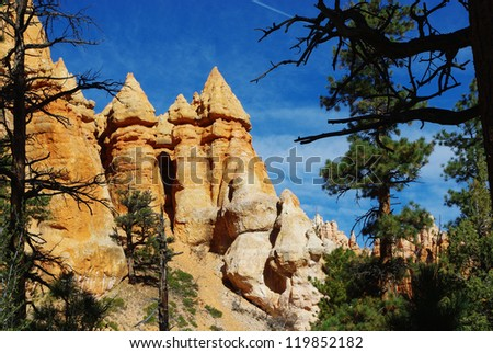 Particular rock towers, Bryce Canyon, Utah - stock photo