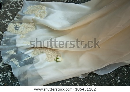 particular the wedding dress with rice and rose