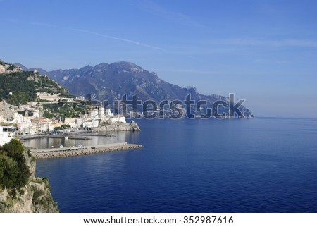 Particular view of Amalfi Coast peninsula