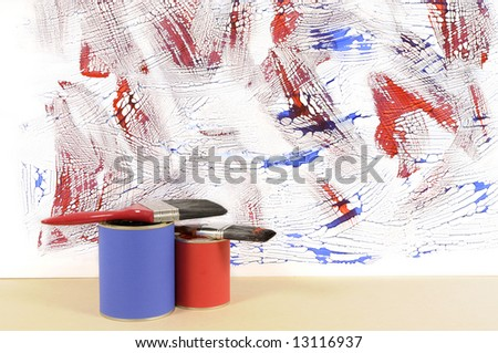 Partly finished untidy or messy blue and red painted wall with paint cans and paintbrushes. Space for copy. - stock photo