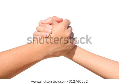 Partner hand between a man and a woman isolated on white background