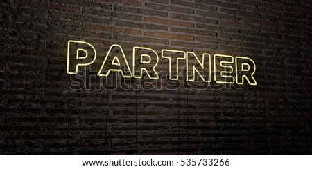PARTNER -Realistic Neon Sign on Brick Wall background - 3D rendered royalty free stock image. Can be used for online banner ads and direct mailers.