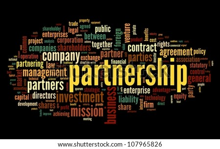 Partnership concept in tag cloud on black - stock photo