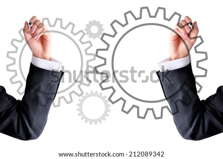 Partnership concept with gear wheels - stock photo