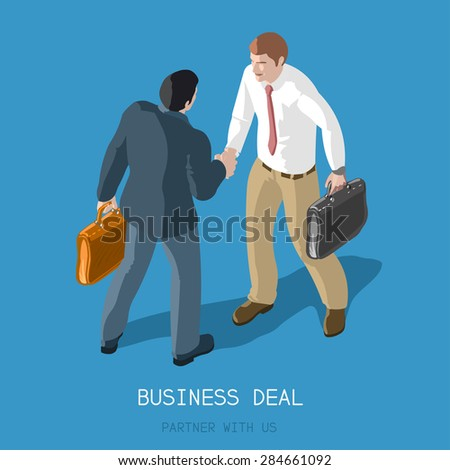 Partnership Deal Handshake to Succeed Flat 3d Isometric Concept Two Businessmen Shaking Hands Formal Agreement Infographic Partner with Us - stock photo