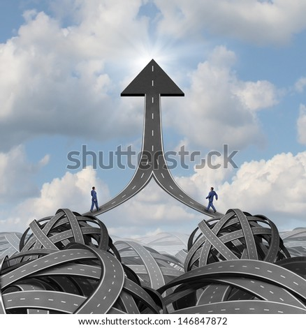 Partnership solutions and team leadership business concept as two businessmen walking a maze of tangled roads highways on a path of success meeting together on an arrow symbol for financial growth.