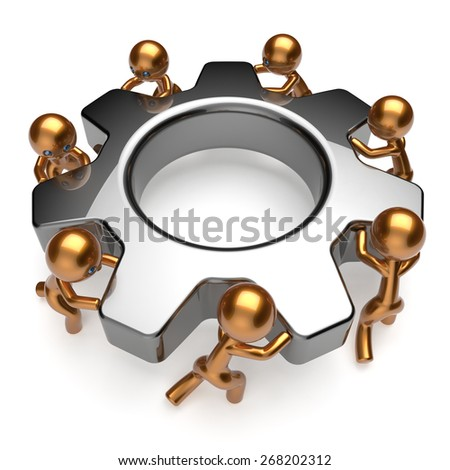 Partnership team business process workers turning gear together. Teamwork cooperation relationship efficiency community workforce concept. 3d render isolated on white - stock photo