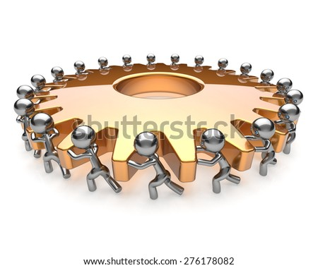 Partnership teamwork team work hard job business men turning gear together. Brainstorming cooperation assistance activism community unity concept. 3d render isolated on white - stock photo