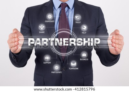 PARTNERSHIP TECHNOLOGY COMMUNICATION TOUCHSCREEN FUTURISTIC CONCEPT - stock photo