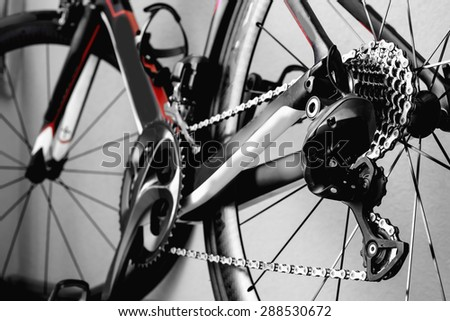 parts bicycle wheel, chain, cycling road bike frame - stock photo