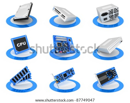 Parts computer icon, blue colour (done in 3d) - stock photo