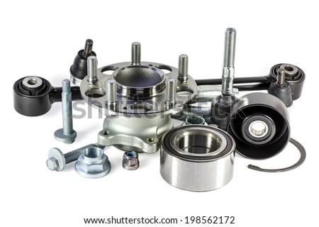 Parts for cars on a white background. - stock photo
