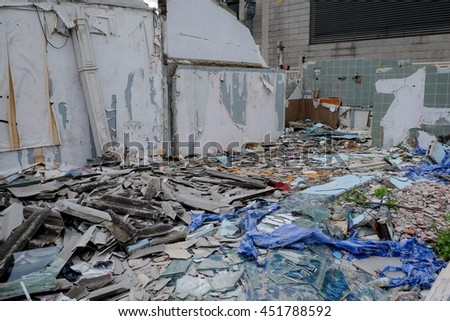 Parts of a ruined house - stock photo