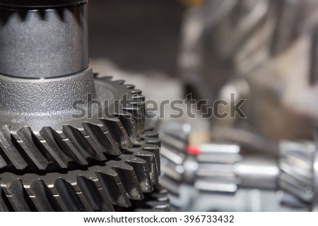 Parts of automotive gearbox - stock photo