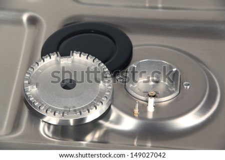 Parts of gas burner. - stock photo