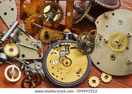Parts of old  mechanical watches - stock photo
