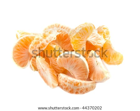Parts of tangerine on the white background
