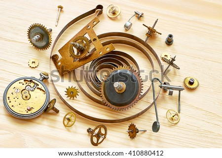Parts of the mechanical clock - stock photo