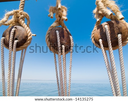 Parts of the pirate ship - stock photo