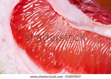 Parts of tropical fruit of grapefruit closeup.