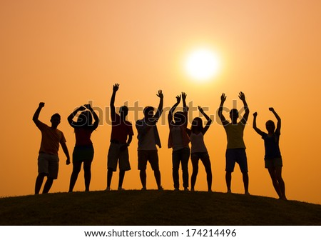 Party at Sunset - stock photo