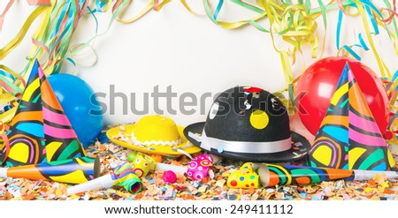 Party background with hats and balloons - stock photo