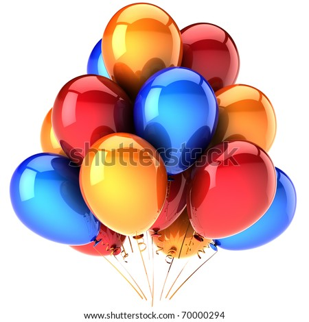 Party balloon balloons birthday baloons decoration colorful red blue orange. Holiday occasion anniversary graduation retirement greeting card design element blank. 3d render isolated on white
