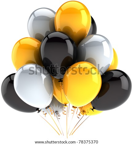 Party balloon birthday balloons party celebrate decoration white black yellow baloons multicolor. Happy joy positive abstract. Anniversary greeting card concept. 3d render isolated on white background - stock photo