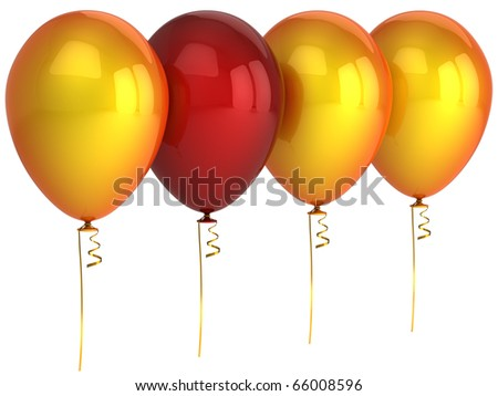 Party balloon leadership helium balloons. Happy birthday decoration red orange. Different individuality choice comparison domination concept. 3d render isolated on white background