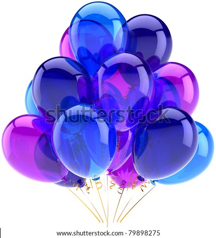 Party balloons birthday anniversary decoration blue purple translucent. New Years Eve Merry Christmas. Joy happy fun abstract. Celebration greeting card concept. 3d render isolated on white background - stock photo