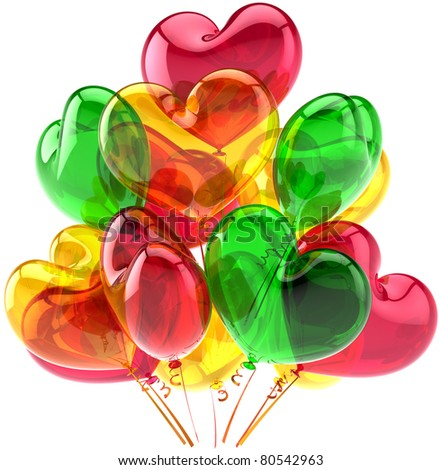 Party balloons birthday anniversary decoration heart shaped multicolor. Romantic love joy happy abstract. Holiday wedding celebration design element. Detailed 3d render. Isolated on white background - stock photo