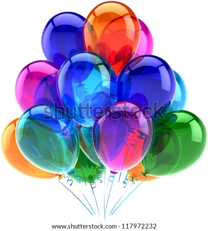 Party balloons birthday decoration colorful translucent. Happy joy fun positive good emotions abstract. Holiday anniversary retirement celebration concept. 3d render isolated on white background - stock photo