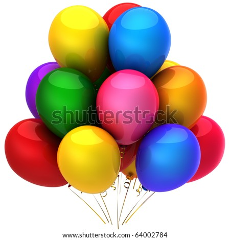 Party balloons birthday decoration positive emotions multicolored blank. Retirement graduation anniversary greeting card design element. Joy happy icon concept. 3d render isolated on white