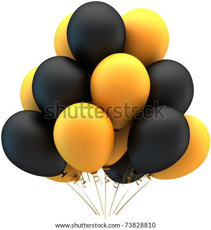 Party balloons black yellow multicolor. Happy birthday decoration anniversary graduation retirement greeting card concept. Joy fun happiness abstract. Detailed 3d render. Isolated on white background - stock photo