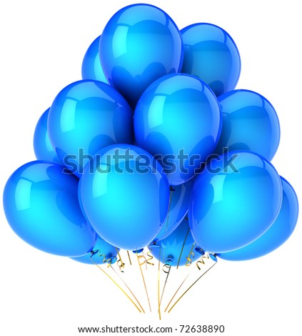 Party balloons blue Happy birthday decoration. Anniversary retirement graduation greeting card concept. Joy happiness fun positive emotion concept. Detailed 3d render. Isolated on white background - stock photo