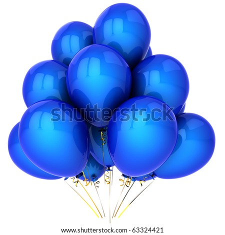 Party balloons blue happy birthday new years eve decoration classic. Anniversary graduation retirement holiday concept. Greeting card design element. 3d render isolated on white background - stock photo