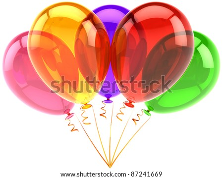Party balloons five 5 birthday decoration translucent multicolored holiday anniversary retirement graduation occasion life events greeting card design element. 3d render isolated on white background - stock photo