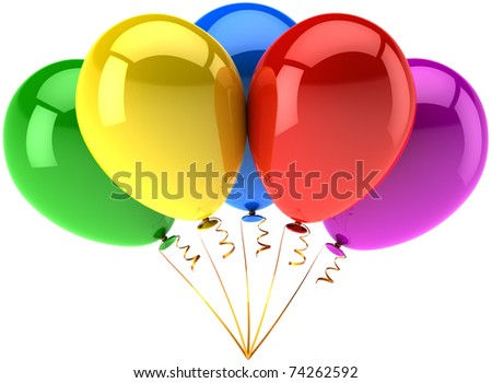 Party balloons five multicolor. Happy birthday celebrate anniversary graduation retirement shiny decoration. Joy fun happiness positive abstract. Detailed 3d render. Isolated on white background - stock photo