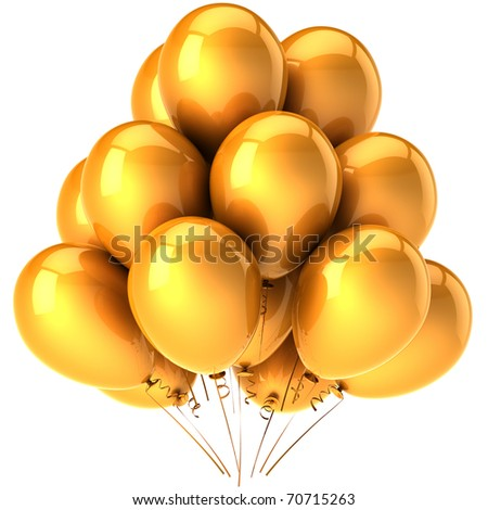 Party balloons gold yellow golden decoration. Happy birthday party anniversary graduation greeting card concept. Joy fun happiness positive emotion abstract. 3d render isolated on white background - stock photo