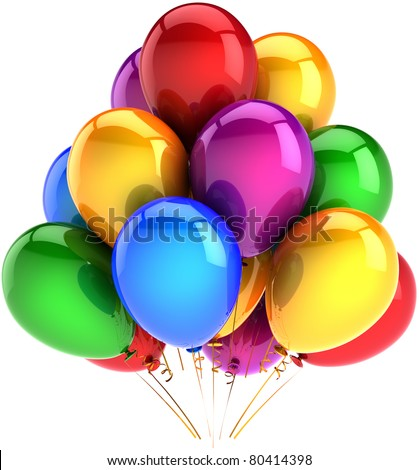Party balloons happy birthday balloon decoration multicolor baloon red blue yellow green purple beautiful. Childhood friendship celebration icon concept. 3d render isolated on white background - stock photo