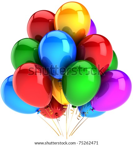 Party balloons happy birthday balloon decoration multicolor shiny. Fun joy positive emotions abstract. Holiday celebration life events greeting card concept. 3d render isolated on white background - stock photo