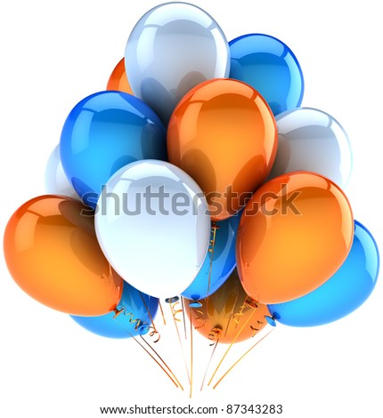 Party balloons happy birthday decoration of celebrate orange blue white. Joy fun friendly abstract. Holiday anniversary celebration greeting card concept. Detailed 3d render. Isolated on background - stock photo