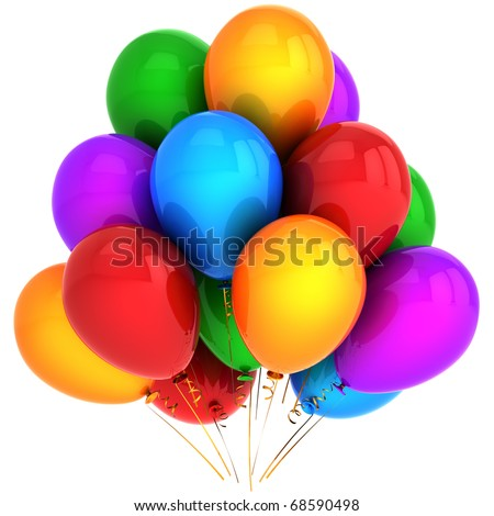 Party balloons happy birthday helium balloon rainbow colorful baloon. Anniversary graduation retirement jubilee decoration. Positive good joy fun concept. 3d render isolated on white background