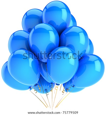Party balloons New Years Eve Merry Christmas decoration blue cyan. Happy birthday holiday abstract anniversary graduation life events celebration greeting card. 3d render isolated on white background - stock photo