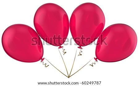 Party balloons pink 4 four translucent red blank. Happy birthday greeting card. Celebration retirement anniversary graduation positive emotion concept. 3d render isolated on white background. - stock photo