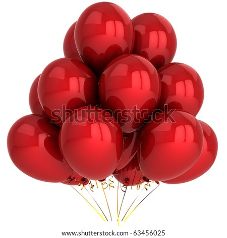 Party balloons red balloon. Happy birthday anniversary graduation retirement decoration classic. New Year Merry Christmas greeting card concept. 3d render isolated on white background. - stock photo