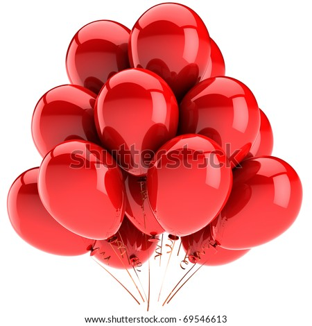 Party balloons red birthday balloon modern holiday decoration baloons anniversary retirement graduation occasion life events greeting card. Joy positive abstract. 3d render isolated