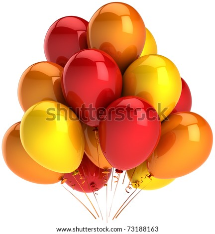 Party balloons red orange yellow colorful. Happy birthday balloon decoration. Positive emotion joy happiness fun icon concept. Detailed 3d render. Isolated on white background - stock photo