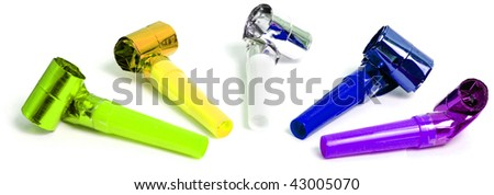 Party blowers isolated on white